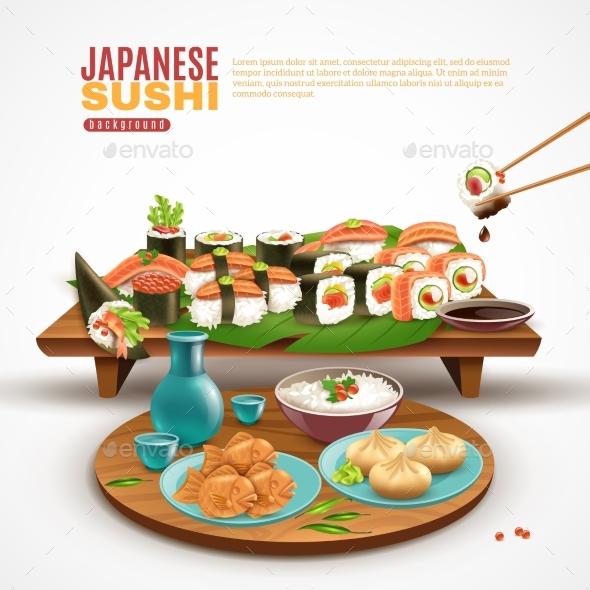 Japanese Sushi Background - Food Objects