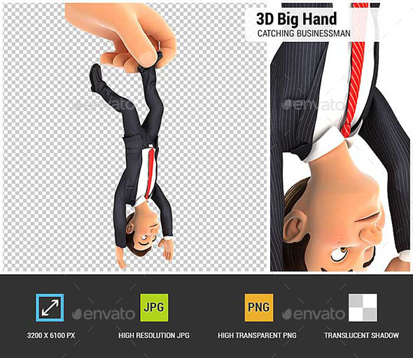 3D Big Hand Catching Businessman by Foot - Characters 3D Renders