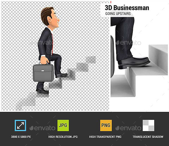 3D Businessman Going Upstairs - Characters 3D Renders