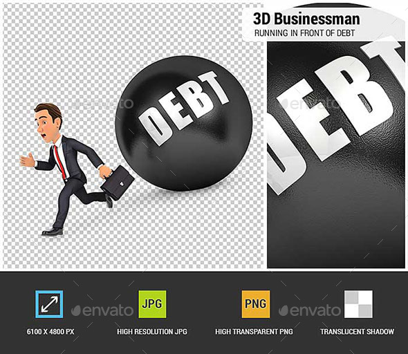 3D Businessman Running in Front of Debt - Characters 3D Renders