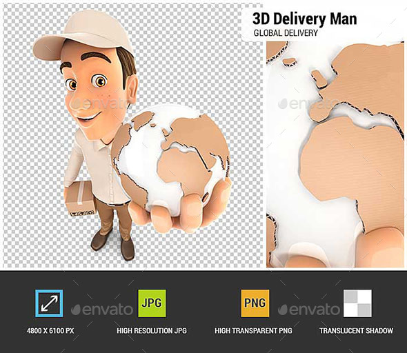 GraphicRiver 3D Delivery Man Global Delivery 20532439
