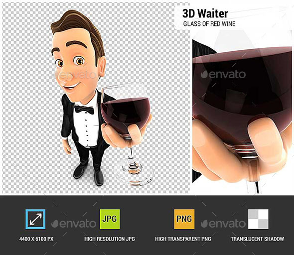 3D Waiter Holding Glass of Red Wine - Characters 3D Renders
