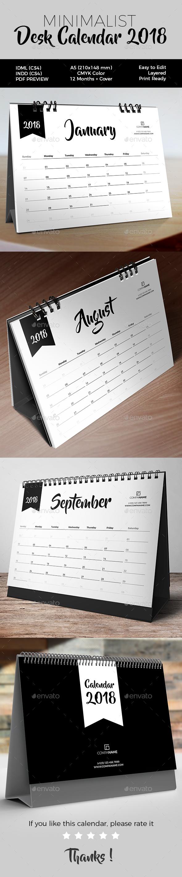 Minimalist Desk Calendar 2018 - Calendars Stationery