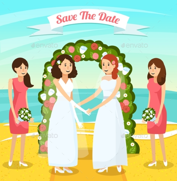 GraphicRiver Colored Wedding People Orthogonal Composition 20532561