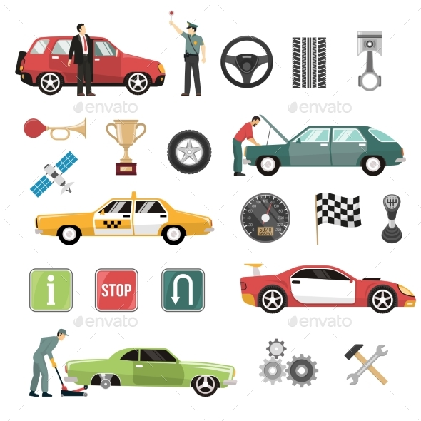 Car Auto Flat Icons Set - Man-made Objects Objects