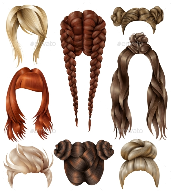 Realistic Female Hairstyles Set - Miscellaneous Vectors