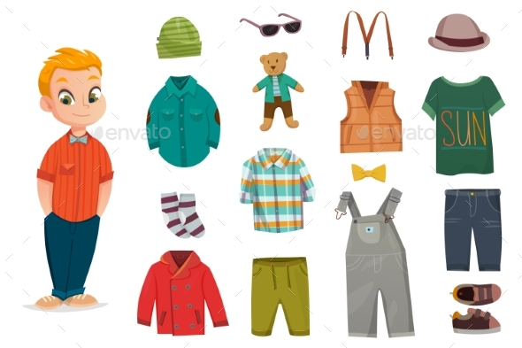 Flat Baby Boy Fashion Icon Set - Man-made Objects Objects