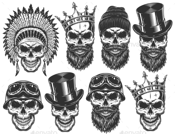 Set of Different Skull Characters - Miscellaneous Vectors
