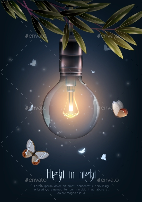 GraphicRiver Vintage Glowing Light Bulbs Poster 20532595