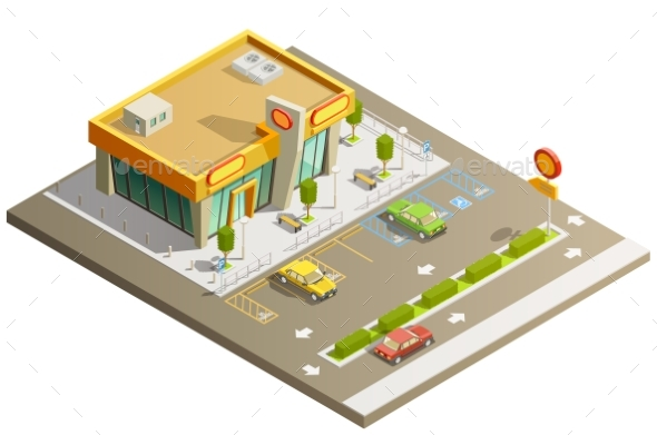 Store Building Isometric Concept - Buildings Objects