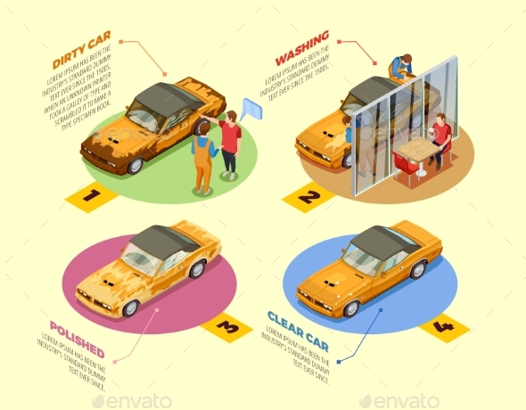 Car Wash  4 Isometric Infographic Icons - Industries Business