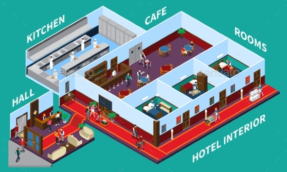 Hotel Interior Isometric Design - Buildings Objects