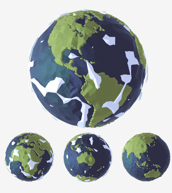 Low-Poly Earth - Accurate map - with Clouds - Animatable - 3DOcean Item for Sale