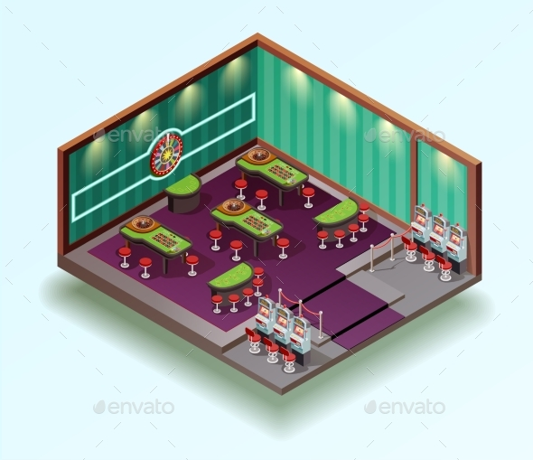 Casino Hall Isometric Interior - Buildings Objects