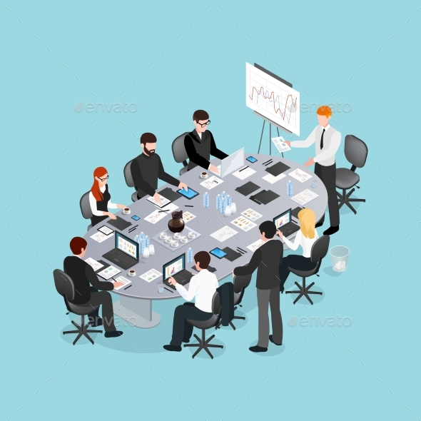 Office Conference Isometric Design - Concepts Business