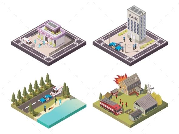 Rescue Service 2X2 Composition Set - Miscellaneous Vectors