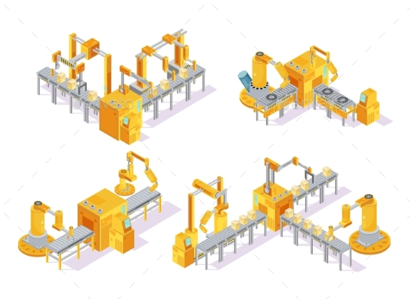 Conveyor System Isometric Design Concept - Industries Business