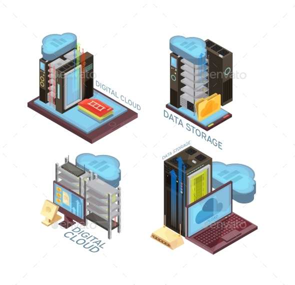 Data Cloud Service Isometric Concept - Computers Technology