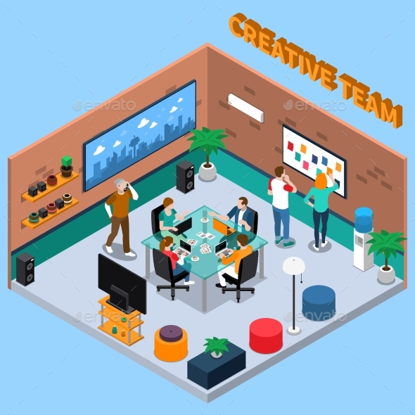 Team of Creatives Isometric Illustration - Concepts Business