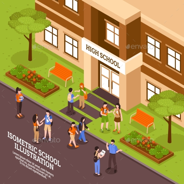 School Building Entrance Isometric Poster - Miscellaneous Vectors
