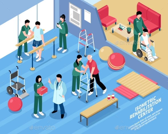 Rehabilitation Center Nurses Isometric Poster - Buildings Objects