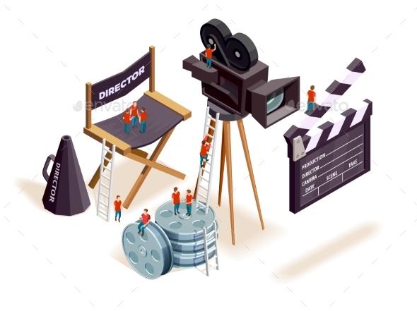 Isometric Cinema Elements Concept - Technology Conceptual