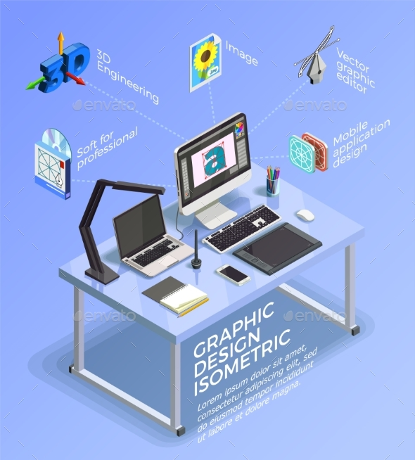Visual Design Infographic Concept - Computers Technology