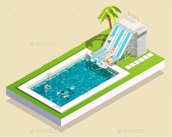 Water Park Pool Composition - Sports/Activity Conceptual