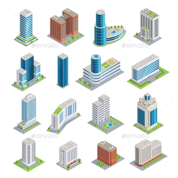 Buildings Isometric Set - Buildings Objects