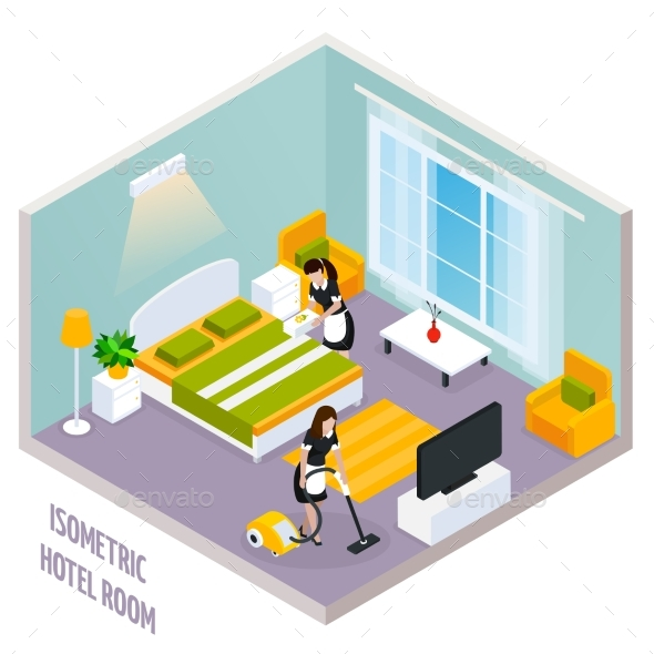 Isometric Hotel Room Interior - Services Commercial / Shopping