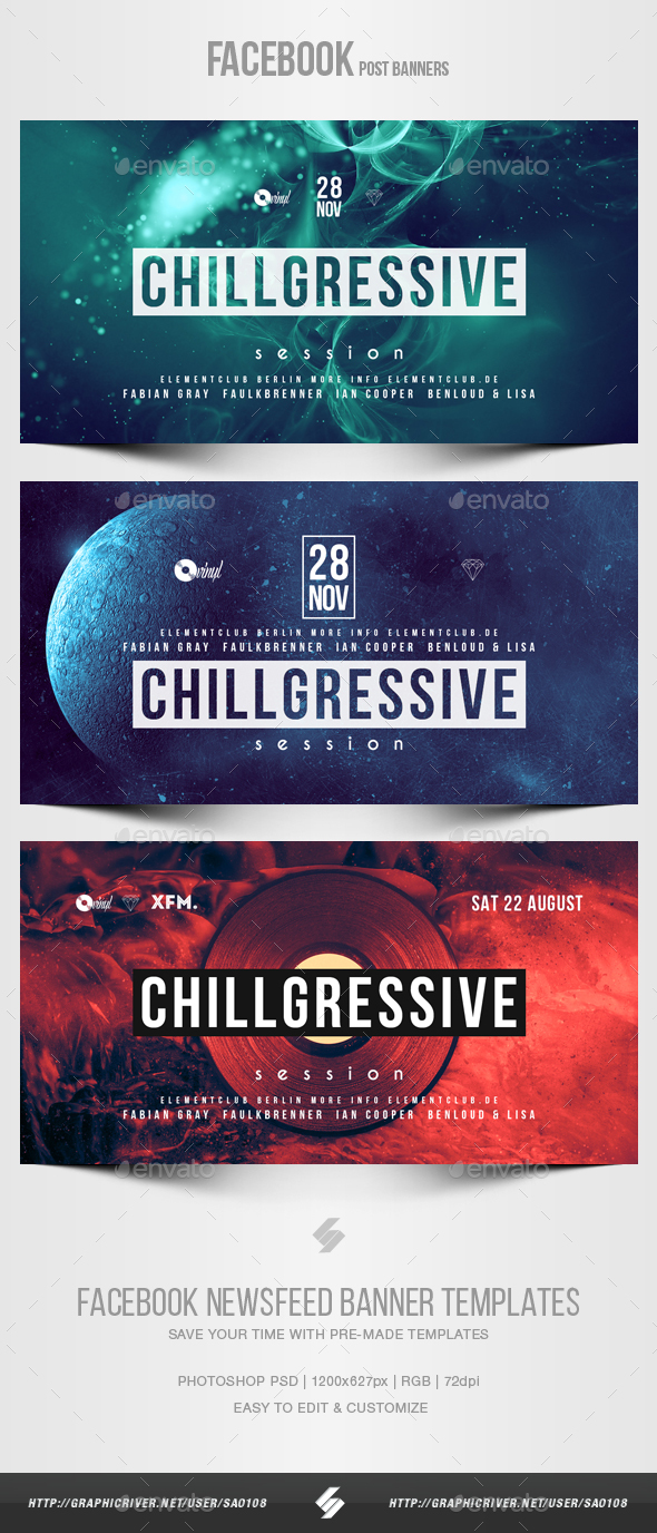 Electronic Music Party vol.29 - Facebook Post Banner Templates - Social Media Web Elements