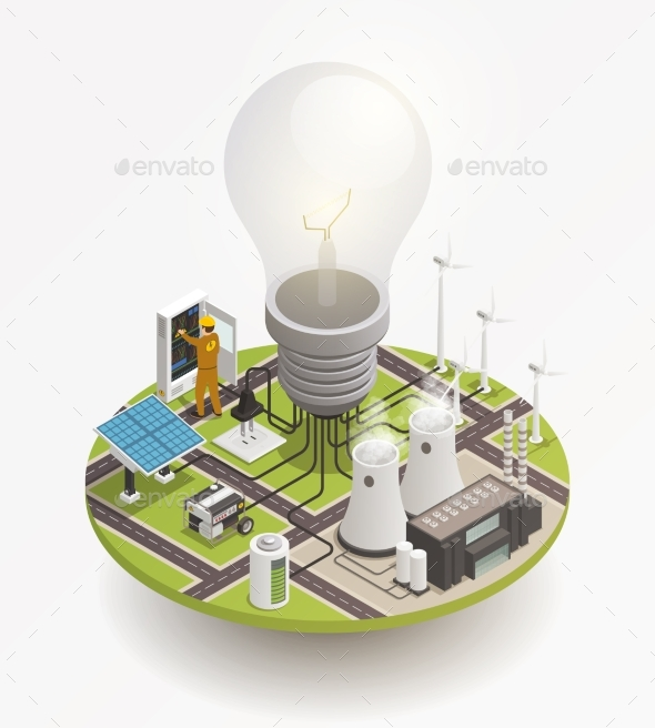 Electric Power Isometric Composition Icon - Technology Conceptual