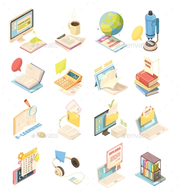 E-Learning Isometric Icons Set - Web Technology