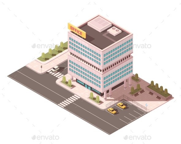Office Building Isometric Mockup - Buildings Objects