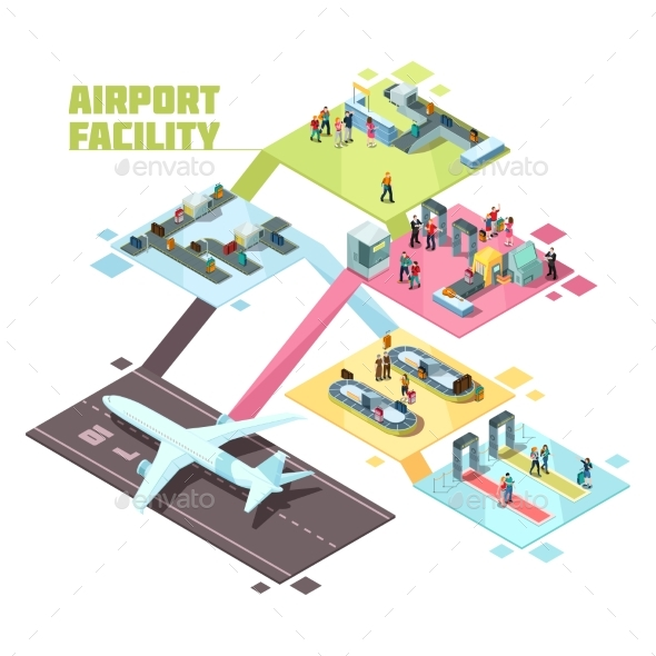 GraphicRiver Airport Facilities Isometric Composition 20532830