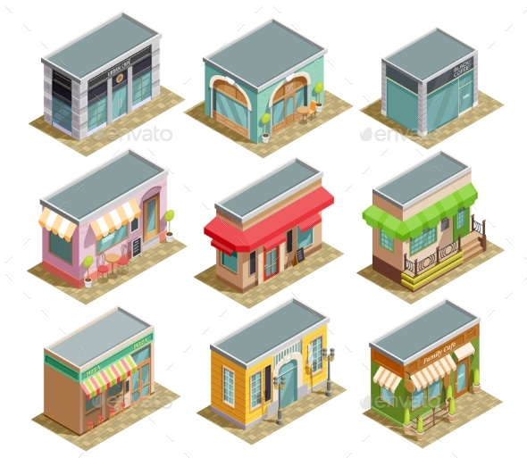Coffee House Isometric Set - Buildings Objects