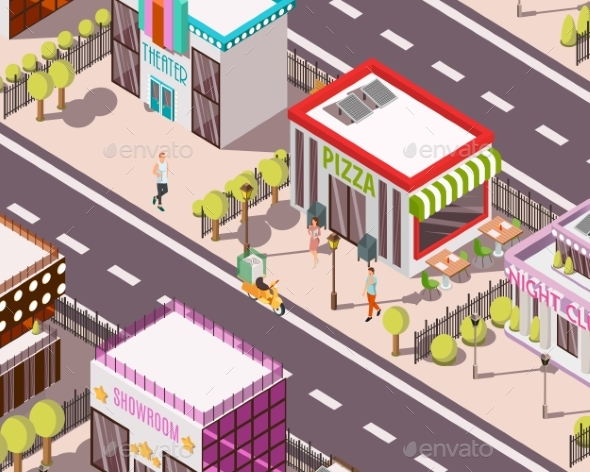 Pizzeria Isometric Background - Buildings Objects