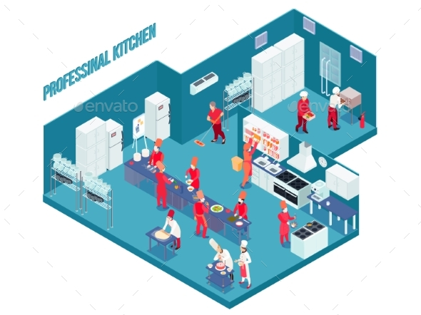 Professional Kitchen Isometric Illustration - Concepts Business
