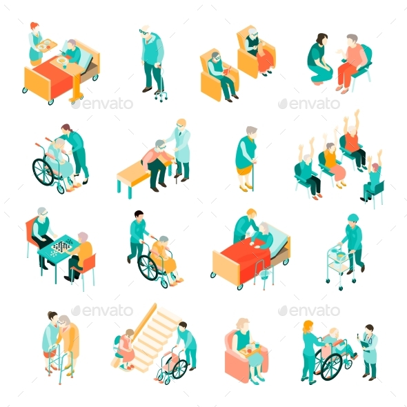 Elderly People Nursing Home Isometric Set - People Characters
