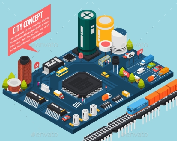Semiconductor Electronic Components Isometric City - Computers Technology