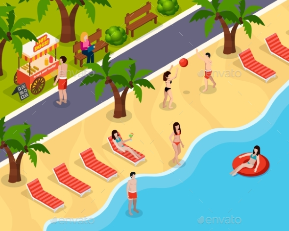 Beach Rest Isometric Composition - Landscapes Nature