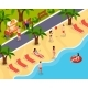 Beach Rest Isometric Composition