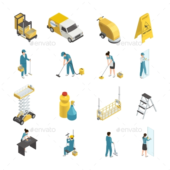 Professional Cleaning Isometric Icons - Business Conceptual