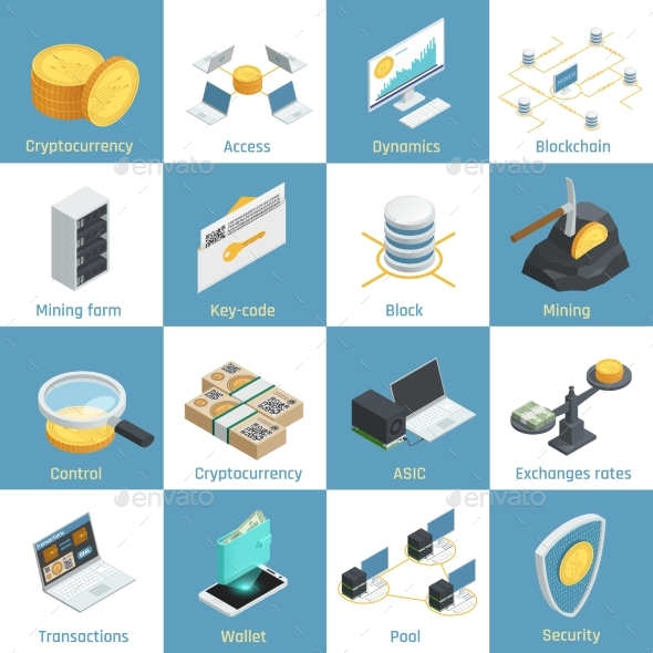 Cryptocurrency Isometric Icons - Computers Technology