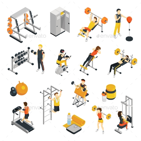 Isometric Exercises Equipment: GraphicRiver Fitness In Gym Isometric Icons