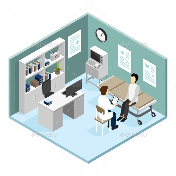 Patient In Doctors Office Vector Illustration - Miscellaneous Vectors