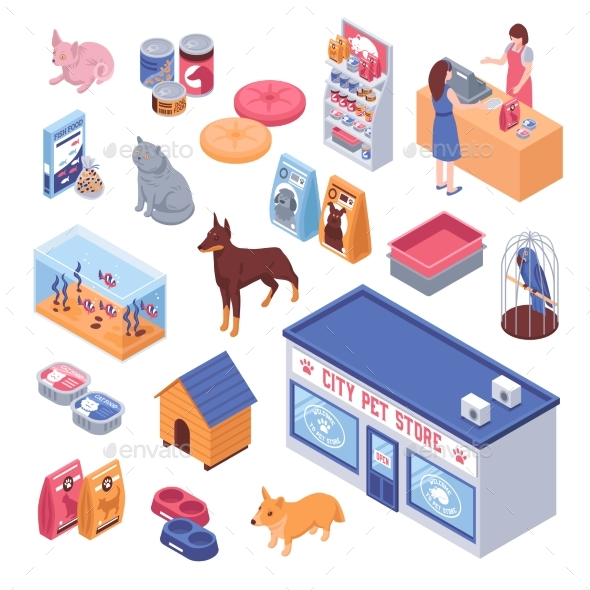Isometric Pet Shop Set