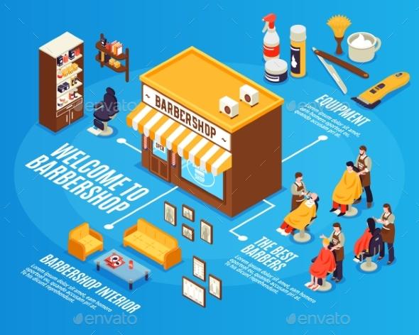 Barbershop Isometric Infographics - Industries Business