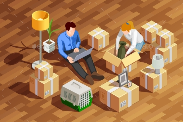 Unpacking Boxes Isometric Composition - Miscellaneous Conceptual