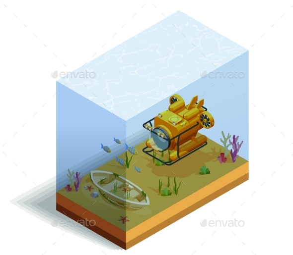Bathyscaph Underwater Isometric Composition - Man-made Objects Objects